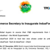 Commerce Secretary to Inaugurate IndusFood 2020